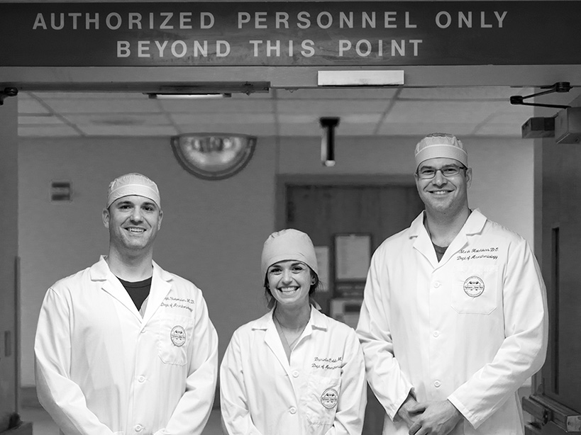 Chief Residents Mark Hotchkiss, DO, Danielle Cobb, MD, and Joe Siebenaler, MD