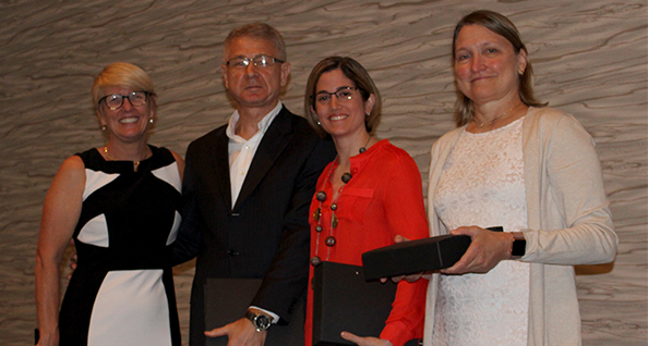 Dr. Enneking with Chair's award winners Drs. Martynyuk, Nin and Davies