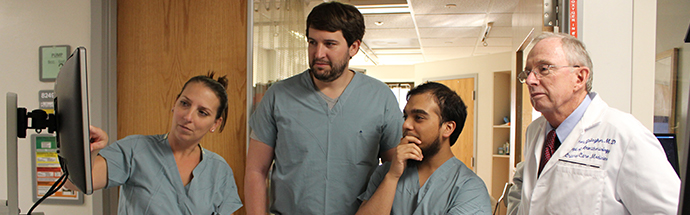 Fellows making clinical rounds