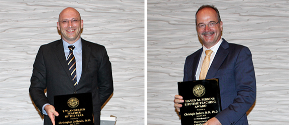 Drs. Goldstein and Seubert with their awards